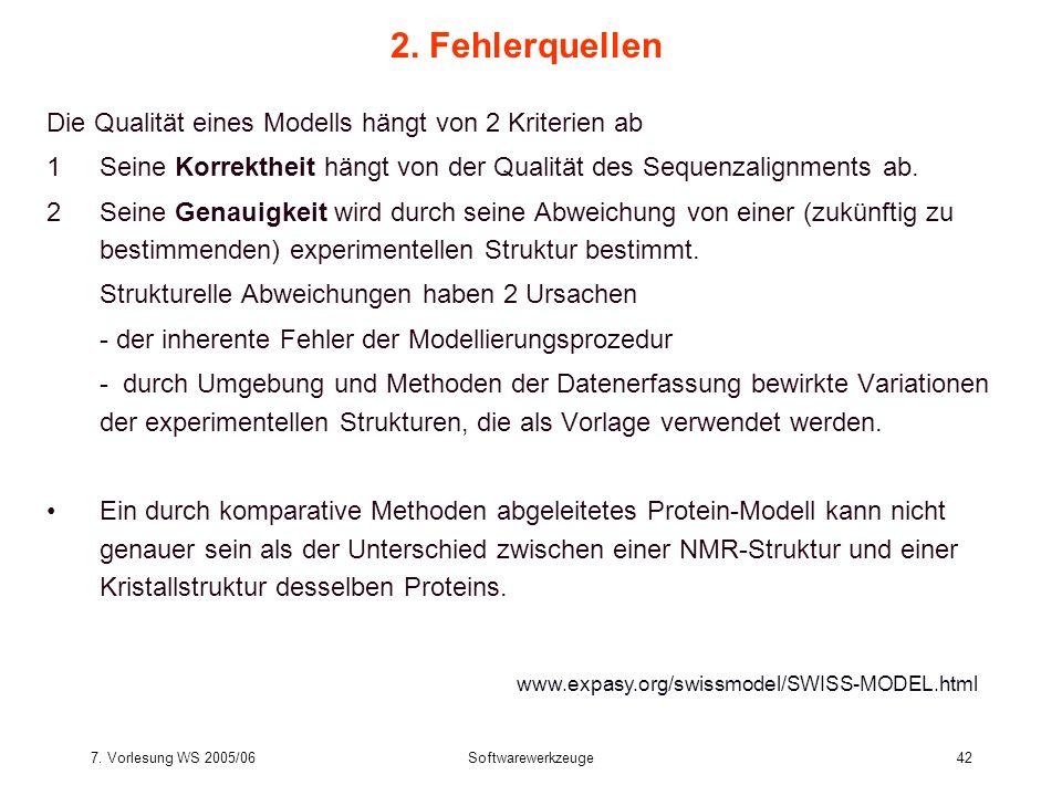 7. Vorlesung WS 2005/06Softwarewerkzeuge42 2. Fehlerquellen Die Qualität eines Modells hängt von 2 Kriterien ab 1Seine Korrektheit hängt von der Quali