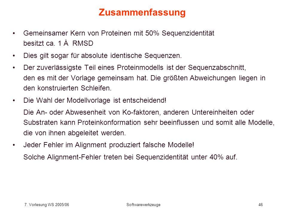 7. Vorlesung WS 2005/06Softwarewerkzeuge46 Zusammenfassung Gemeinsamer Kern von Proteinen mit 50% Sequenzidentität besitzt ca. 1 Å RMSD Dies gilt soga