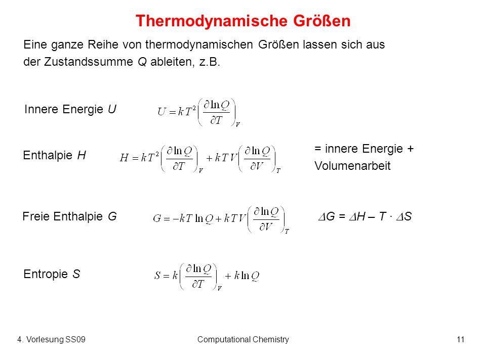 4. Vorlesung SS09Computational Chemistry11 Eine ganze Reihe von thermodynamischen Größen lassen sich aus der Zustandssumme Q ableiten, z.B. Thermodyna