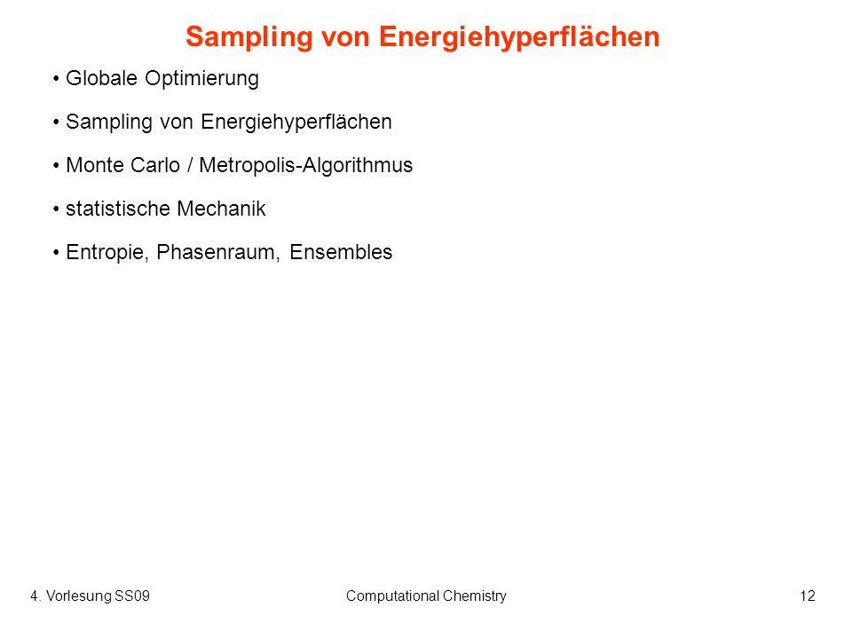 4. Vorlesung SS09Computational Chemistry12 Globale Optimierung Sampling von Energiehyperflächen Monte Carlo / Metropolis-Algorithmus statistische Mech