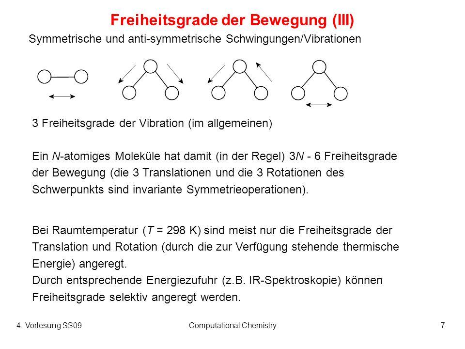 4. Vorlesung SS09Computational Chemistry7 3 Freiheitsgrade der Vibration (im allgemeinen) Freiheitsgrade der Bewegung (III) Ein N-atomiges Moleküle ha
