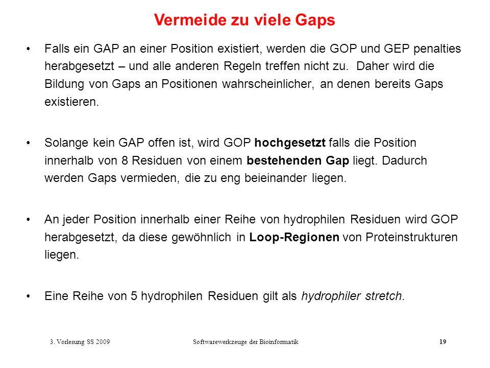 Softwarewerkzeuge der Bioinformatik19 Falls ein GAP an einer Position existiert, werden die GOP und GEP penalties herabgesetzt – und alle anderen Rege