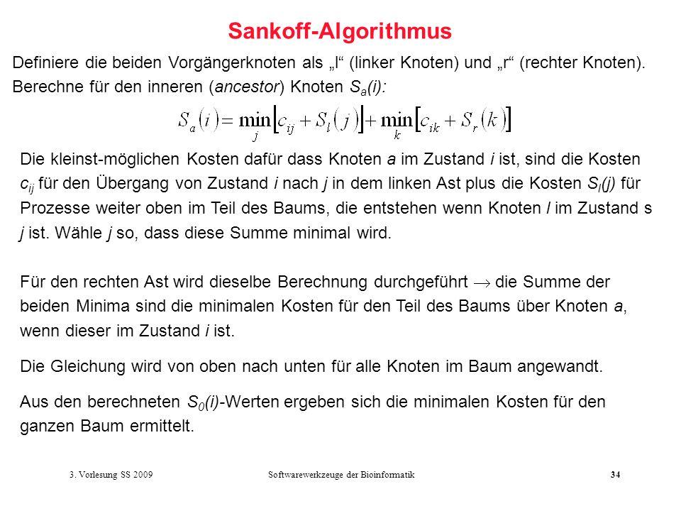 Softwarewerkzeuge der Bioinformatik34 Sankoff-Algorithmus Definiere die beiden Vorgängerknoten als l (linker Knoten) und r (rechter Knoten). Berechne