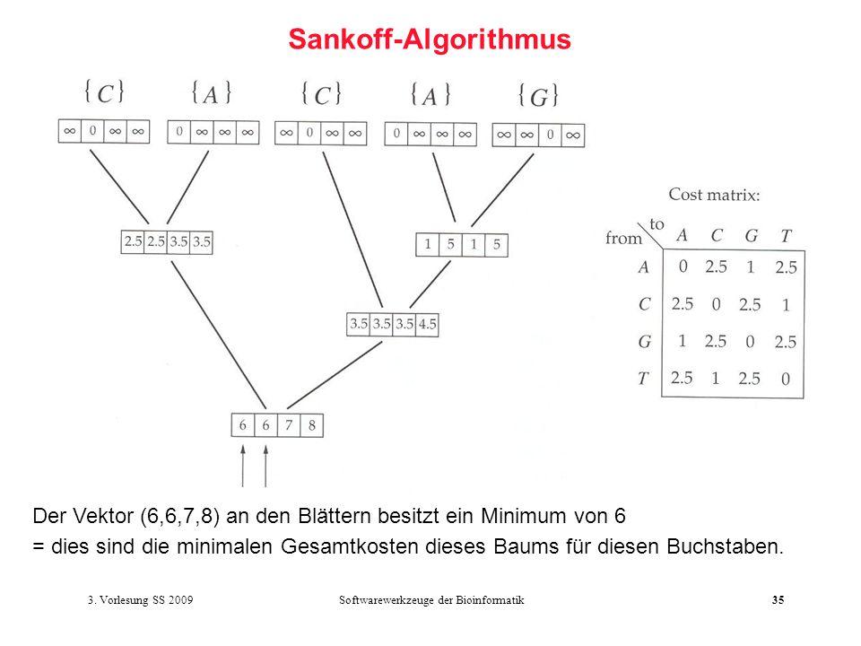 Softwarewerkzeuge der Bioinformatik35 Sankoff-Algorithmus Der Vektor (6,6,7,8) an den Blättern besitzt ein Minimum von 6 = dies sind die minimalen Ges