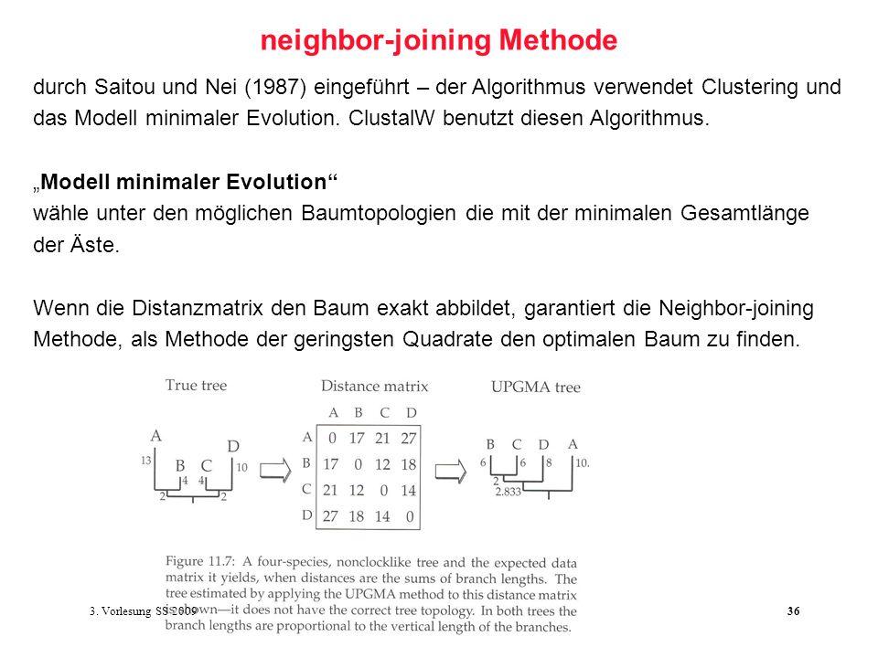 Softwarewerkzeuge der Bioinformatik36 neighbor-joining Methode durch Saitou und Nei (1987) eingeführt – der Algorithmus verwendet Clustering und das M