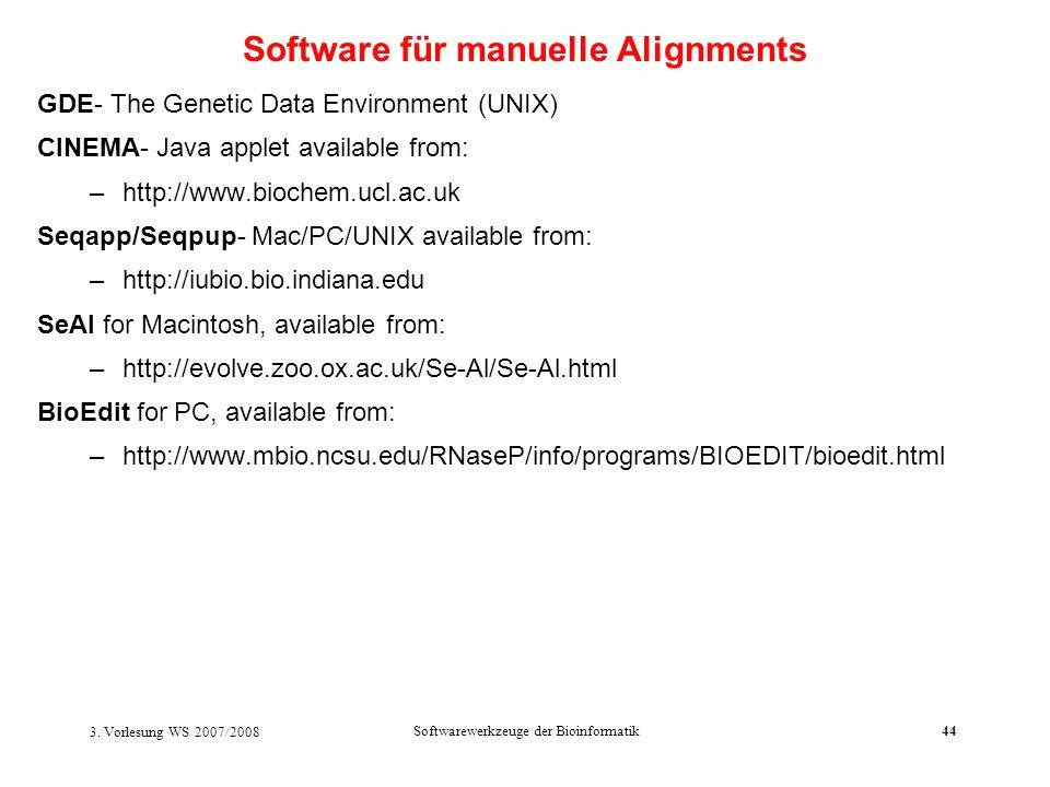 3. Vorlesung WS 2007/2008 Softwarewerkzeuge der Bioinformatik44 GDE- The Genetic Data Environment (UNIX) CINEMA- Java applet available from: –http://w