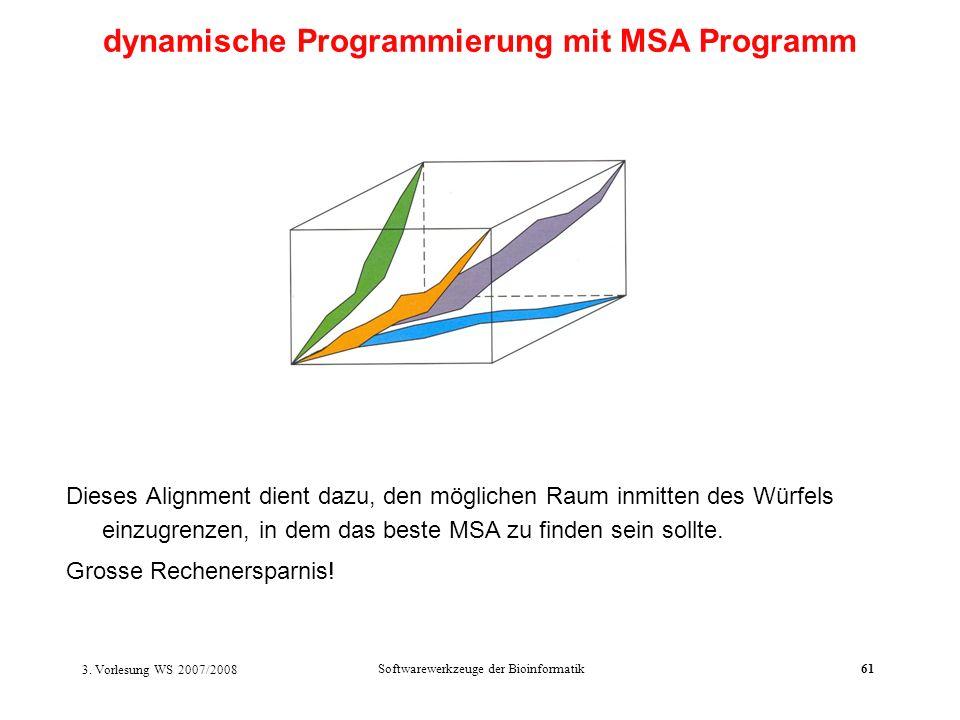 3. Vorlesung WS 2007/2008 Softwarewerkzeuge der Bioinformatik61 Dieses Alignment dient dazu, den möglichen Raum inmitten des Würfels einzugrenzen, in