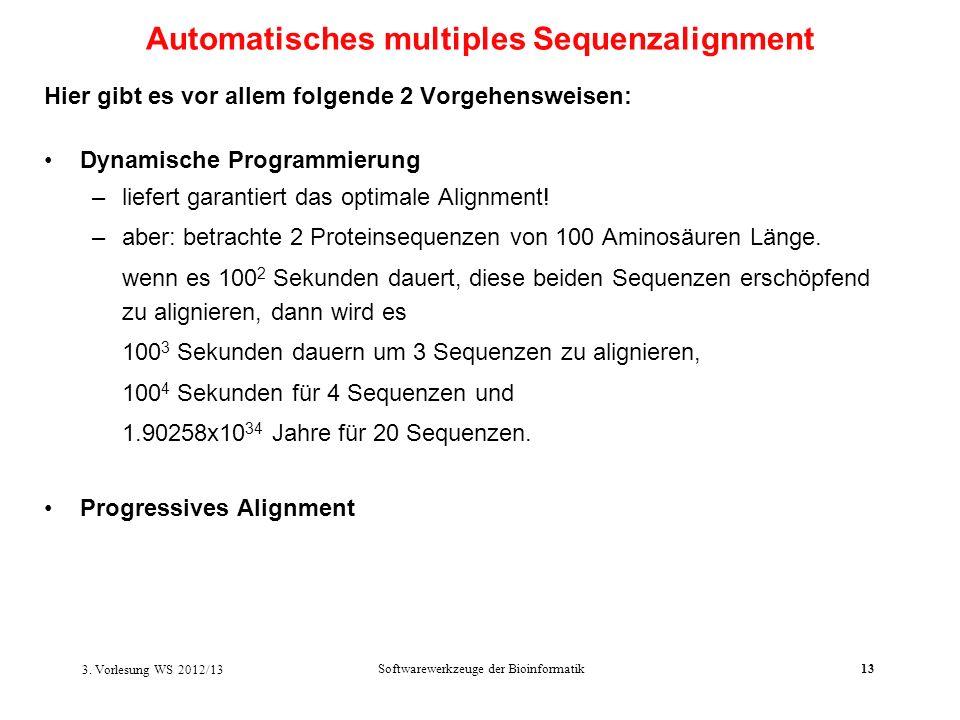 Softwarewerkzeuge der Bioinformatik13 Hier gibt es vor allem folgende 2 Vorgehensweisen: Dynamische Programmierung –liefert garantiert das optimale Al