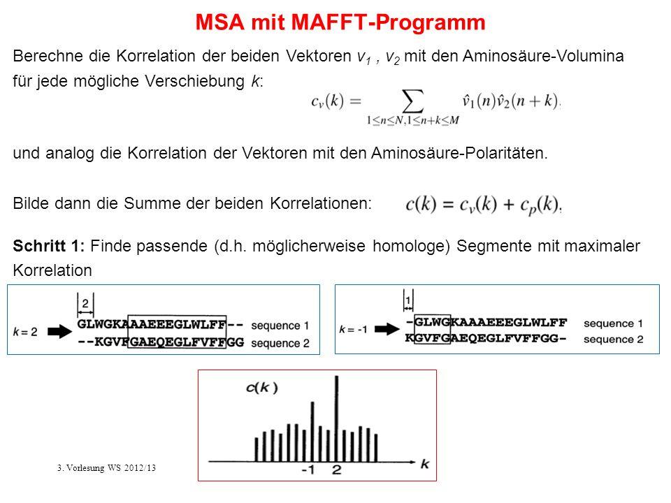 Berechne die Korrelation der beiden Vektoren v 1, v 2 mit den Aminosäure-Volumina für jede mögliche Verschiebung k: MSA mit MAFFT-Programm Schritt 1: