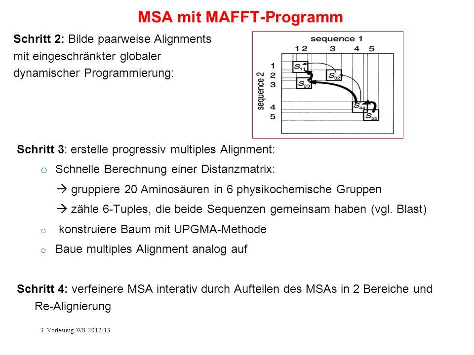 MSA mit MAFFT-Programm Schritt 3: erstelle progressiv multiples Alignment: o Schnelle Berechnung einer Distanzmatrix: gruppiere 20 Aminosäuren in 6 ph