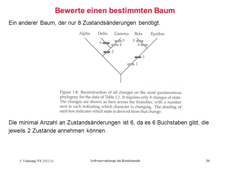 Softwarewerkzeuge der Bioinformatik34 Bewerte einen bestimmten Baum Ein anderer Baum, der nur 8 Zustandsänderungen benötigt. Die minimal Anzahl an Zus