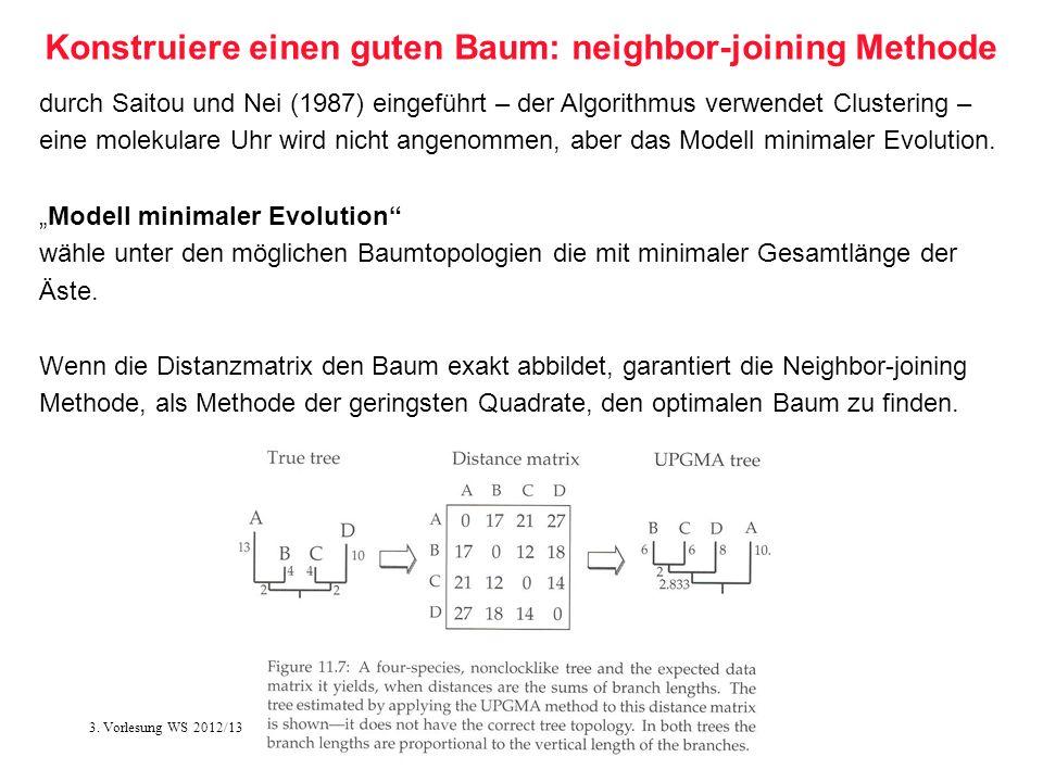 Softwarewerkzeuge der Bioinformatik40 Konstruiere einen guten Baum: neighbor-joining Methode durch Saitou und Nei (1987) eingeführt – der Algorithmus