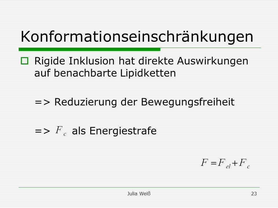 Julia Weiß23 Konformationseinschränkungen Rigide Inklusion hat direkte Auswirkungen auf benachbarte Lipidketten => Reduzierung der Bewegungsfreiheit =