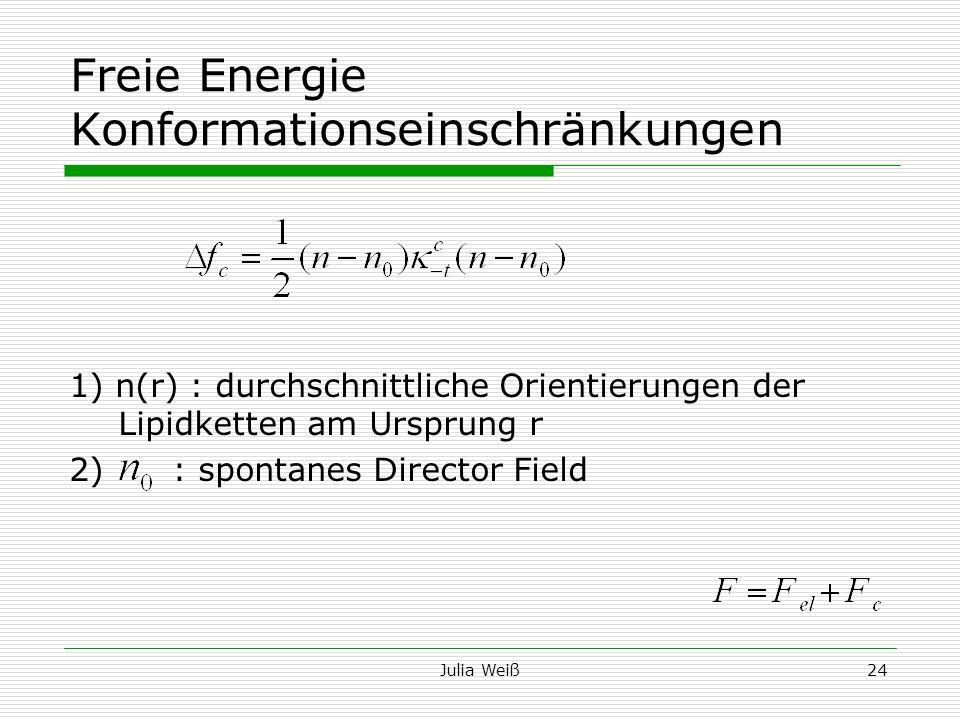 Julia Weiß24 Freie Energie Konformationseinschränkungen 1) n(r) : durchschnittliche Orientierungen der Lipidketten am Ursprung r 2) : spontanes Direct