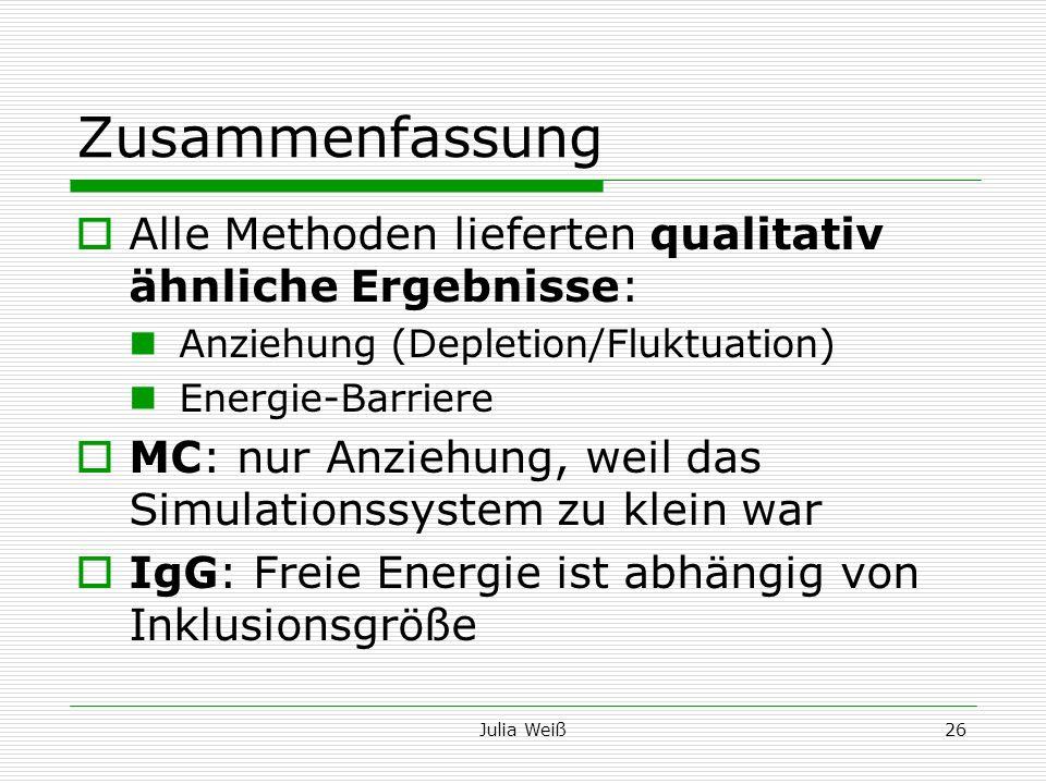 Julia Weiß26 Zusammenfassung Alle Methoden lieferten qualitativ ähnliche Ergebnisse: Anziehung (Depletion/Fluktuation) Energie-Barriere MC: nur Anzieh