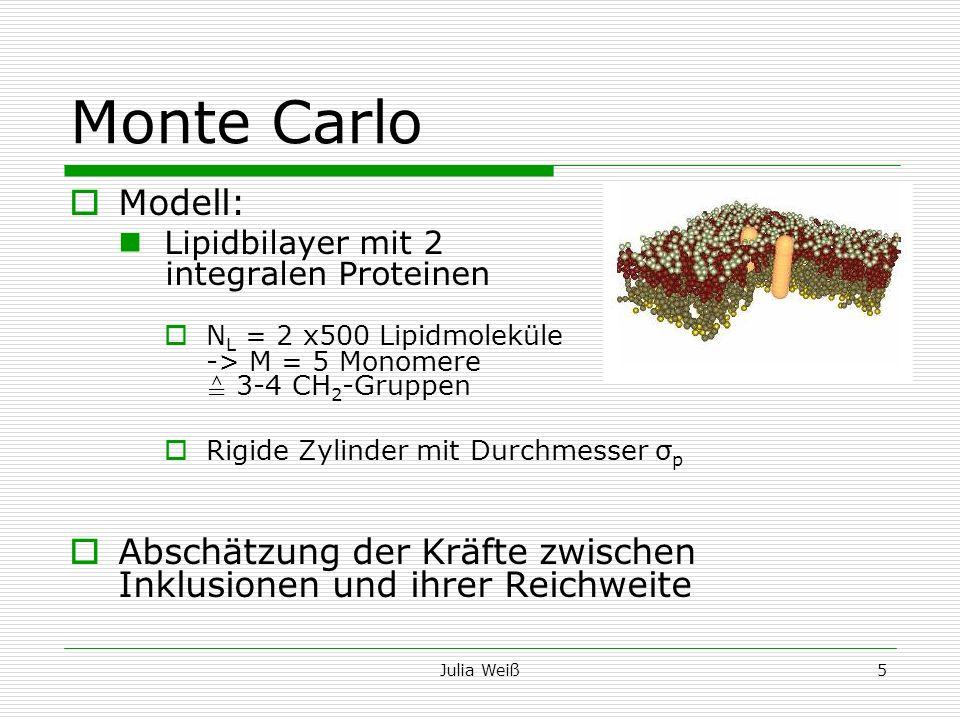 Julia Weiß5 Monte Carlo Modell: Lipidbilayer mit 2 integralen Proteinen N L = 2 x500 Lipidmoleküle -> M = 5 Monomere 3-4 CH 2 -Gruppen Rigide Zylinder