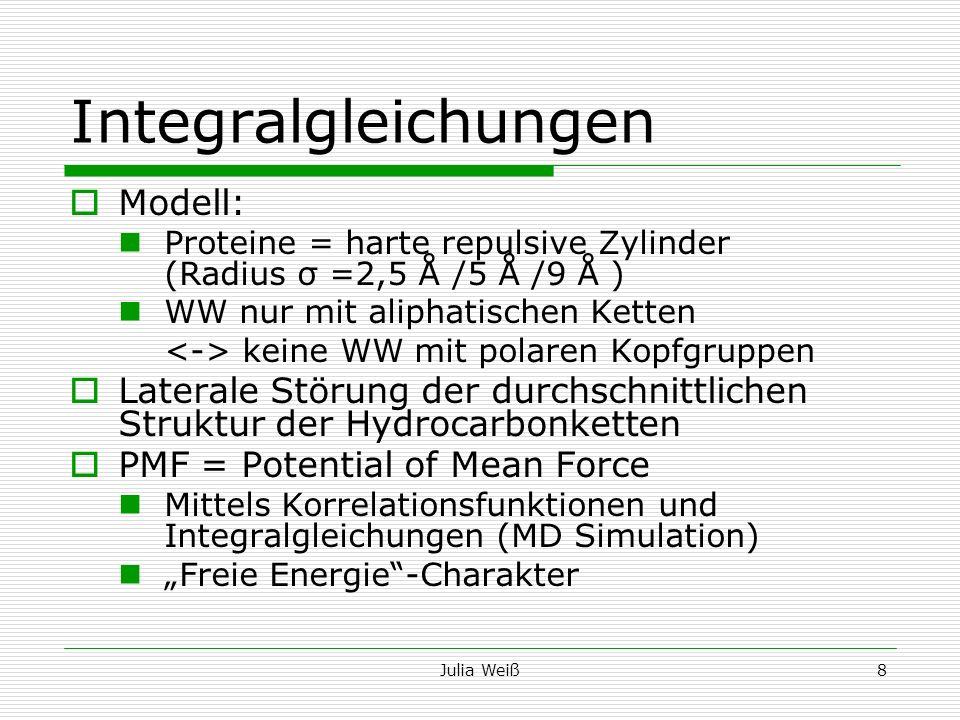 Julia Weiß8 Integralgleichungen Modell: Proteine = harte repulsive Zylinder (Radius σ =2,5 Å /5 Å /9 Å ) WW nur mit aliphatischen Ketten keine WW mit