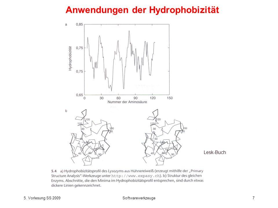 5. Vorlesung SS 2009Softwarewerkzeuge7 Lesk-Buch Anwendungen der Hydrophobizität