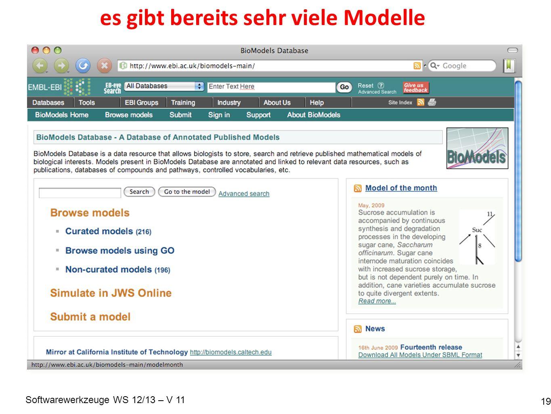 Softwarewerkzeuge WS 12/13 – V 11 es gibt bereits sehr viele Modelle 19
