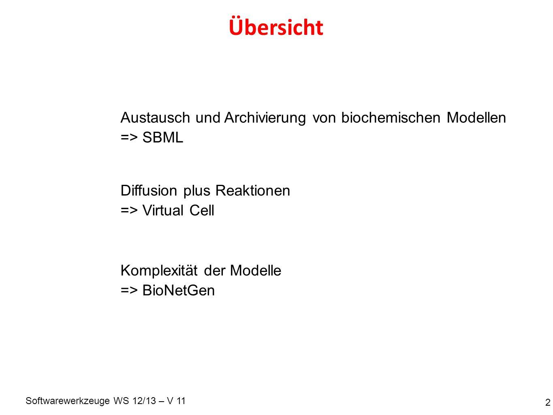 Softwarewerkzeuge WS 12/13 – V 11 Übersicht 2 Austausch und Archivierung von biochemischen Modellen => SBML Diffusion plus Reaktionen => Virtual Cell Komplexität der Modelle => BioNetGen