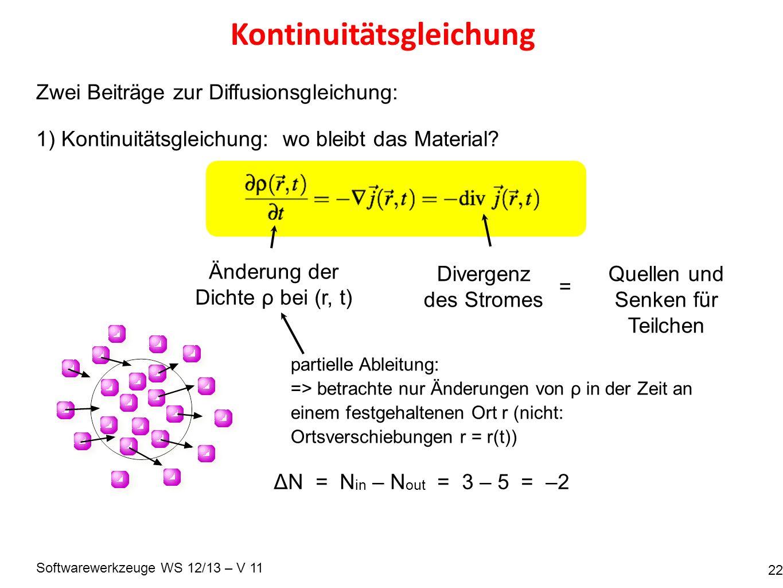 Softwarewerkzeuge WS 12/13 – V 11 Kontinuitätsgleichung 22 Zwei Beiträge zur Diffusionsgleichung: 1) Kontinuitätsgleichung: wo bleibt das Material.