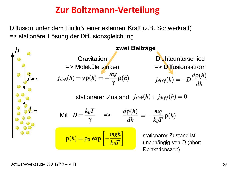 Softwarewerkzeuge WS 12/13 – V 11 Zur Boltzmann-Verteilung 26 Diffusion unter dem Einfluß einer externen Kraft (z.B. Schwerkraft) => stationäre Lösung