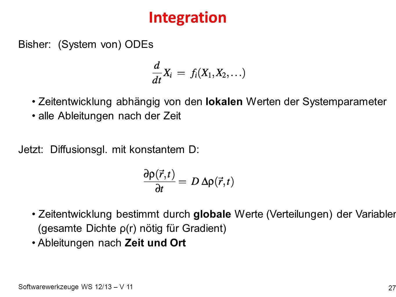 Softwarewerkzeuge WS 12/13 – V 11 Integration 27 Jetzt: Diffusionsgl. mit konstantem D: Bisher: (System von) ODEs Zeitentwicklung abhängig von den lok
