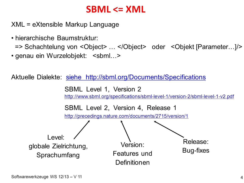 Softwarewerkzeuge WS 12/13 – V 11 SBML <= XML 4 XML = eXtensible Markup Language hierarchische Baumstruktur: => Schachtelung von … oder genau ein Wurz