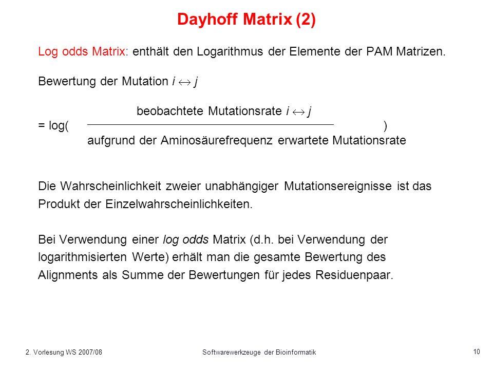 2. Vorlesung WS 2007/08Softwarewerkzeuge der Bioinformatik 10 Log odds Matrix: enthält den Logarithmus der Elemente der PAM Matrizen. Bewertung der Mu