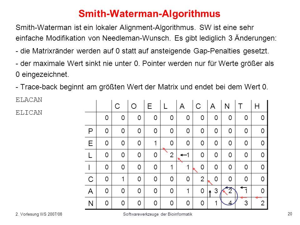 2. Vorlesung WS 2007/08Softwarewerkzeuge der Bioinformatik 20 Smith-Waterman-Algorithmus Smith-Waterman ist ein lokaler Alignment-Algorithmus. SW ist
