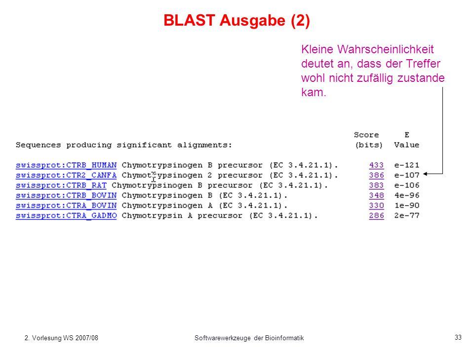 2. Vorlesung WS 2007/08Softwarewerkzeuge der Bioinformatik 33 Kleine Wahrscheinlichkeit deutet an, dass der Treffer wohl nicht zufällig zustande kam.