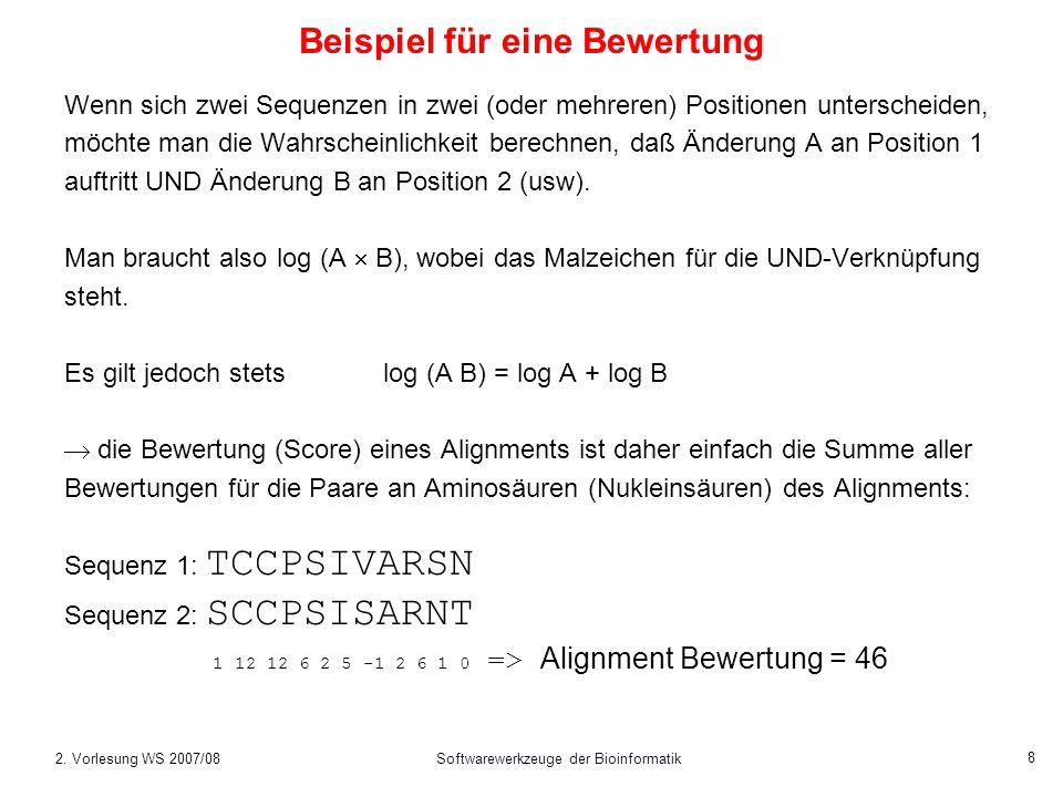2. Vorlesung WS 2007/08Softwarewerkzeuge der Bioinformatik 39 BLAST Ausgabe (5)
