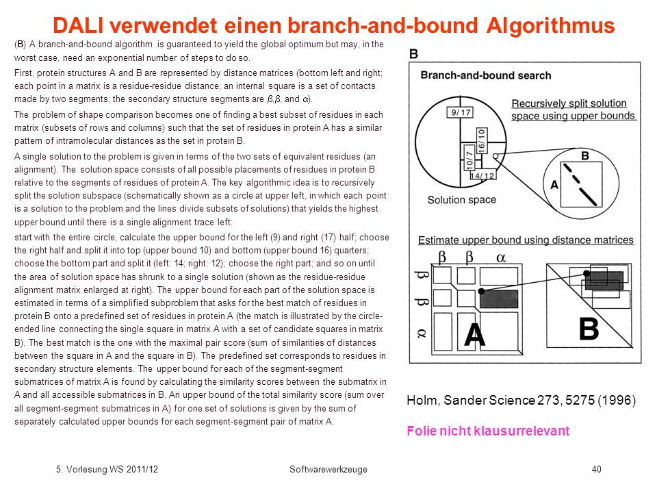 5. Vorlesung WS 2011/12Softwarewerkzeuge40 DALI verwendet einen branch-and-bound Algorithmus (B) A branch-and-bound algorithm is guaranteed to yield t