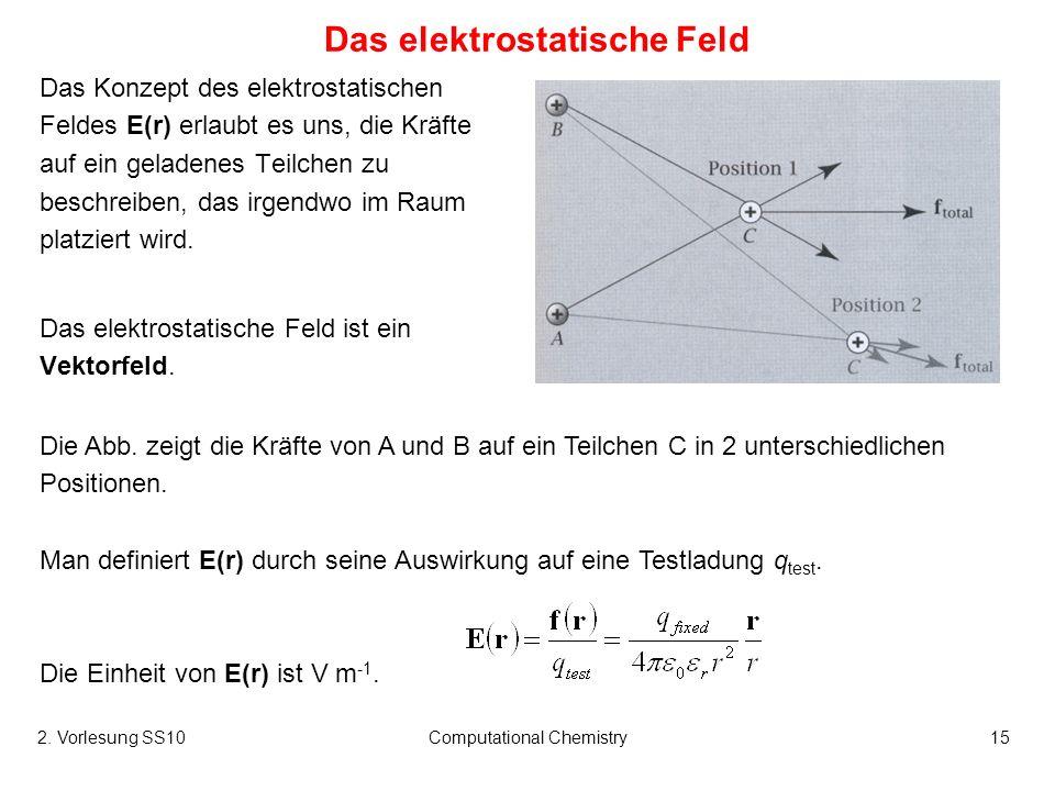 2. Vorlesung SS10Computational Chemistry15 Die Abb. zeigt die Kräfte von A und B auf ein Teilchen C in 2 unterschiedlichen Positionen. Man definiert E