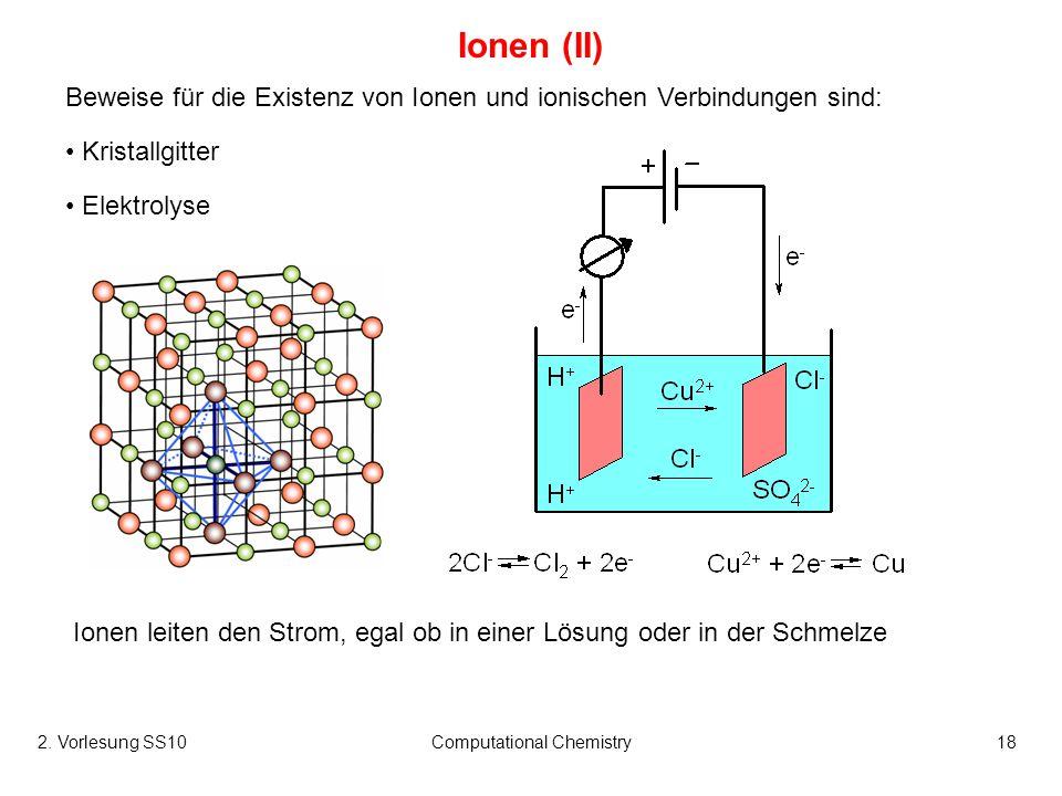 2. Vorlesung SS10Computational Chemistry18 Ionen (II) Beweise für die Existenz von Ionen und ionischen Verbindungen sind: Kristallgitter Elektrolyse I