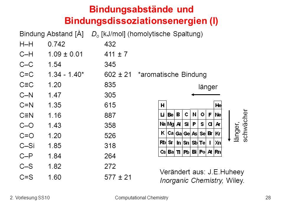 2. Vorlesung SS10Computational Chemistry28 Bindungsabstände und Bindungsdissoziationsenergien (I) Bindung Abstand [Å] D o [kJ/mol] (homolytische Spalt