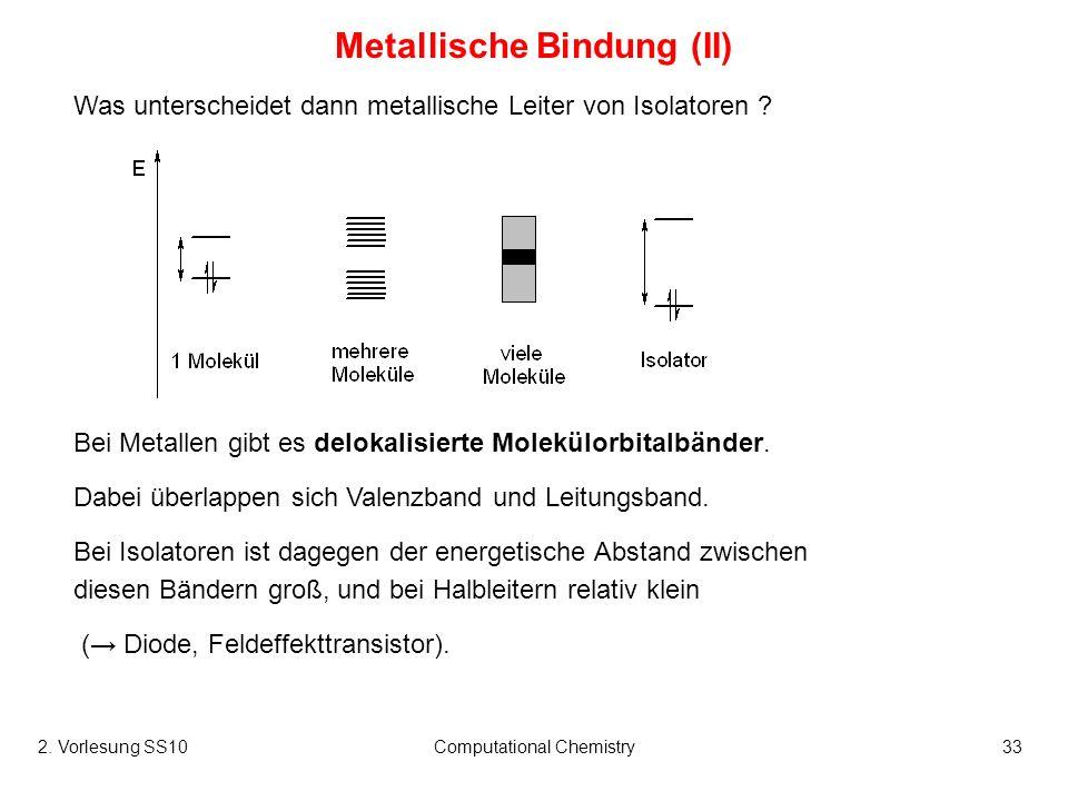 2. Vorlesung SS10Computational Chemistry33 Metallische Bindung (II) Was unterscheidet dann metallische Leiter von Isolatoren ? Bei Metallen gibt es de