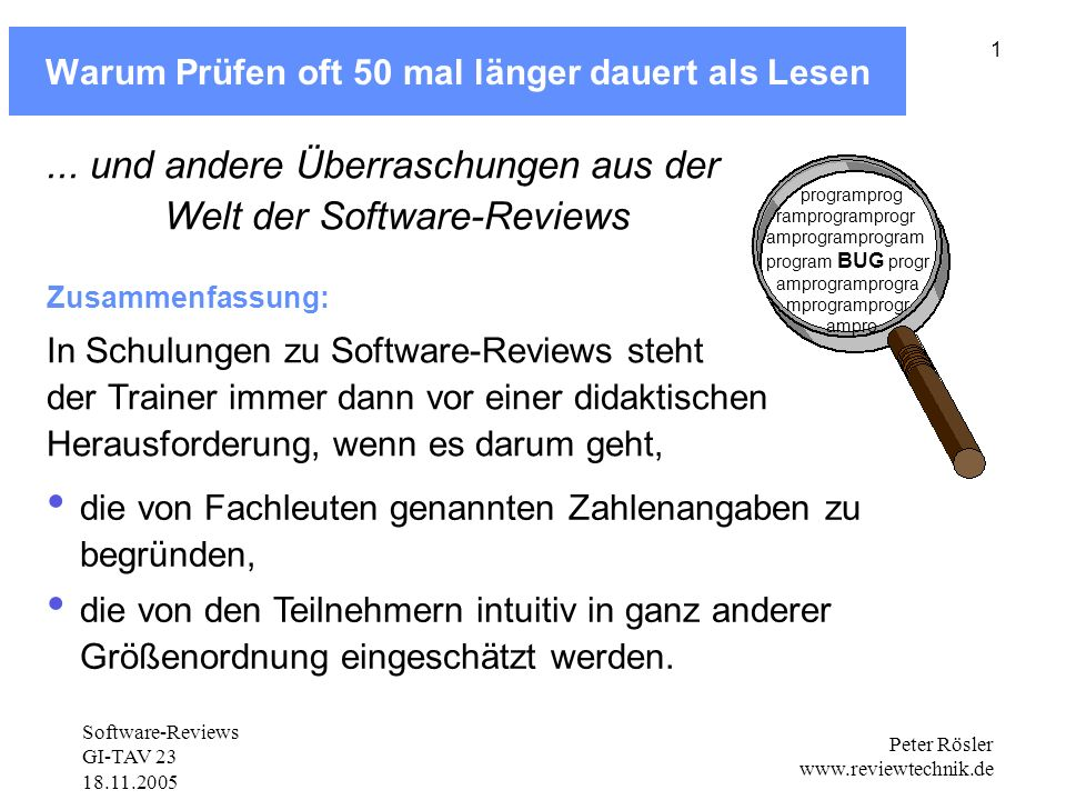 Software-Reviews GI-TAV 23 18.11.2005 Peter Rösler www.reviewtechnik.de 22 typische Inspektionsraten bei Textdokumenten Typische Reviews: um Faktor 10 zu schnell.