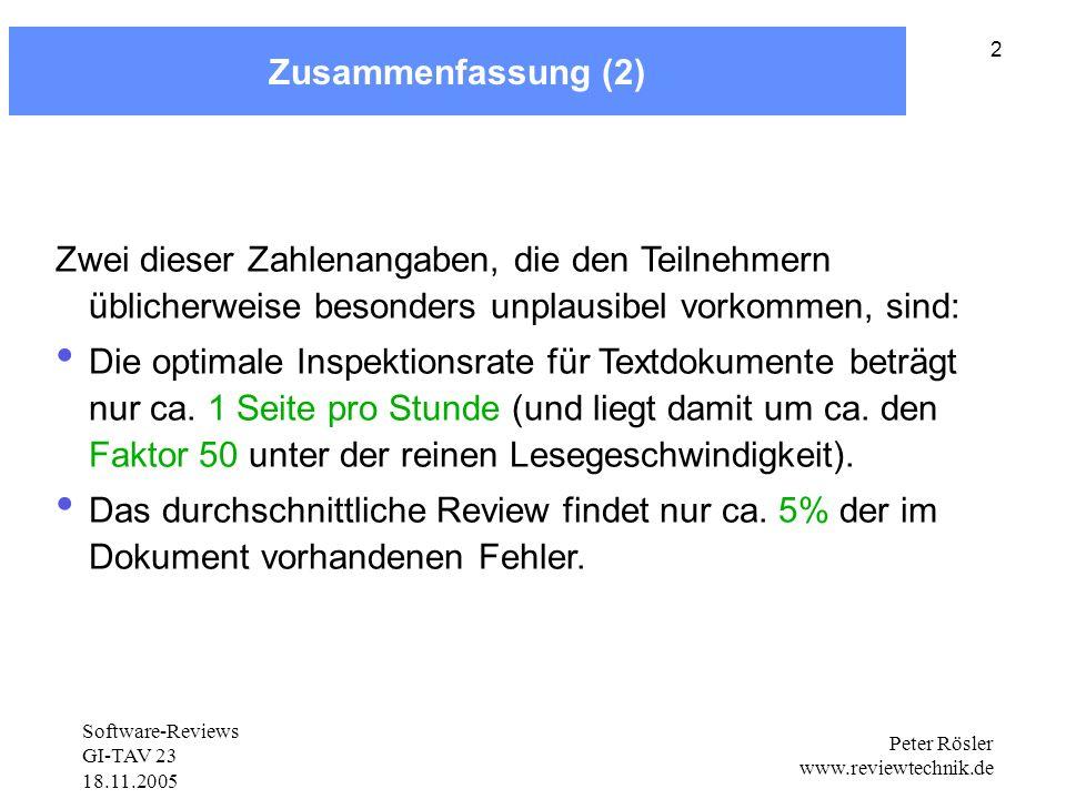 Software-Reviews GI-TAV 23 18.11.2005 Peter Rösler www.reviewtechnik.de 2 Zusammenfassung (2) Zwei dieser Zahlenangaben, die den Teilnehmern üblicherweise besonders unplausibel vorkommen, sind: Die optimale Inspektionsrate für Textdokumente beträgt nur ca.