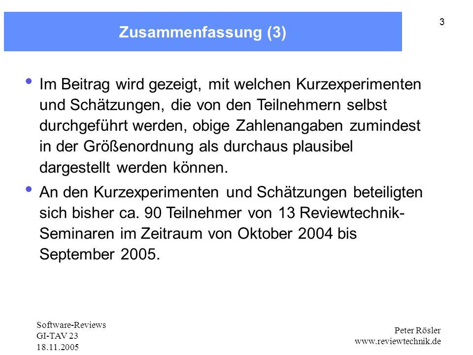 Software-Reviews GI-TAV 23 18.11.2005 Peter Rösler www.reviewtechnik.de 3 Zusammenfassung (3) Im Beitrag wird gezeigt, mit welchen Kurzexperimenten und Schätzungen, die von den Teilnehmern selbst durchgeführt werden, obige Zahlenangaben zumindest in der Größenordnung als durchaus plausibel dargestellt werden können.