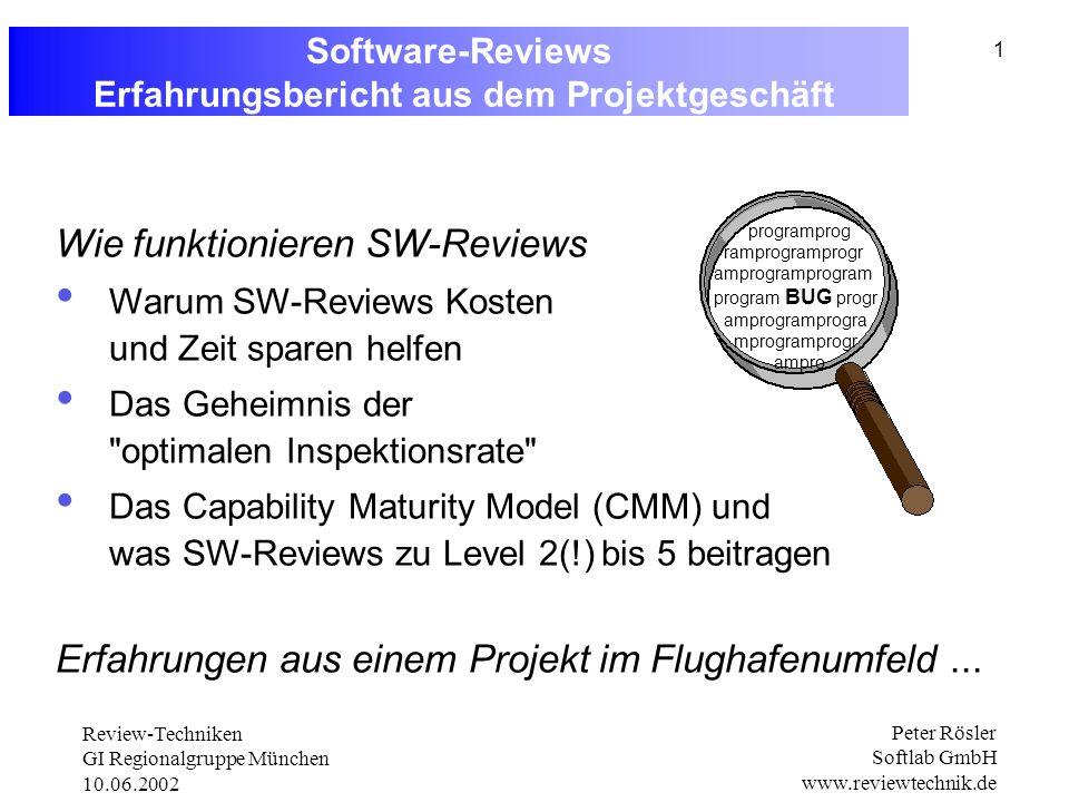 Review-Techniken GI Regionalgruppe München 10.06.2002 Peter Rösler Softlab GmbH www.reviewtechnik.de 1 Software-Reviews Erfahrungsbericht aus dem Projektgeschäft programprog ramprogramprogr amprogramprogram program BUG progr amprogramprogra mprogramprogr ampro Wie funktionieren SW-Reviews Warum SW-Reviews Kosten und Zeit sparen helfen Das Geheimnis der optimalen Inspektionsrate Das Capability Maturity Model (CMM) und was SW-Reviews zu Level 2(!) bis 5 beitragen Erfahrungen aus einem Projekt im Flughafenumfeld...