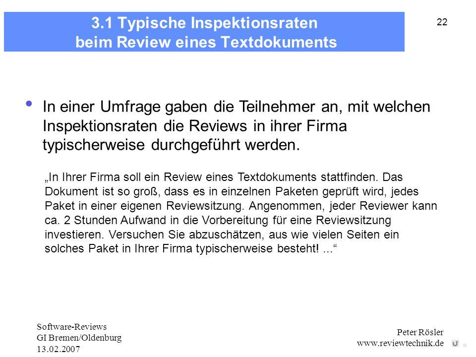 Software-Reviews GI Bremen/Oldenburg 13.02.2007 Peter Rösler www.reviewtechnik.de 22 3.1 Typische Inspektionsraten beim Review eines Textdokuments In einer Umfrage gaben die Teilnehmer an, mit welchen Inspektionsraten die Reviews in ihrer Firma typischerweise durchgeführt werden.