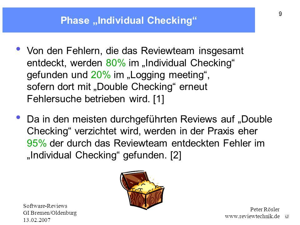 Software-Reviews GI Bremen/Oldenburg 13.02.2007 Peter Rösler www.reviewtechnik.de 9 Phase Individual Checking Von den Fehlern, die das Reviewteam insgesamt entdeckt, werden 80% im Individual Checking gefunden und 20% im Logging meeting, sofern dort mit Double Checking erneut Fehlersuche betrieben wird.