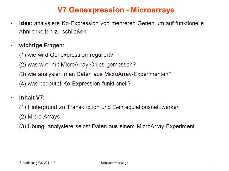 7. Vorlesung WS 2011/12Softwarewerkzeuge1 V7 Genexpression - Microarrays Idee: analysiere Ko-Expression von mehreren Genen um auf funktionelle Ähnlich