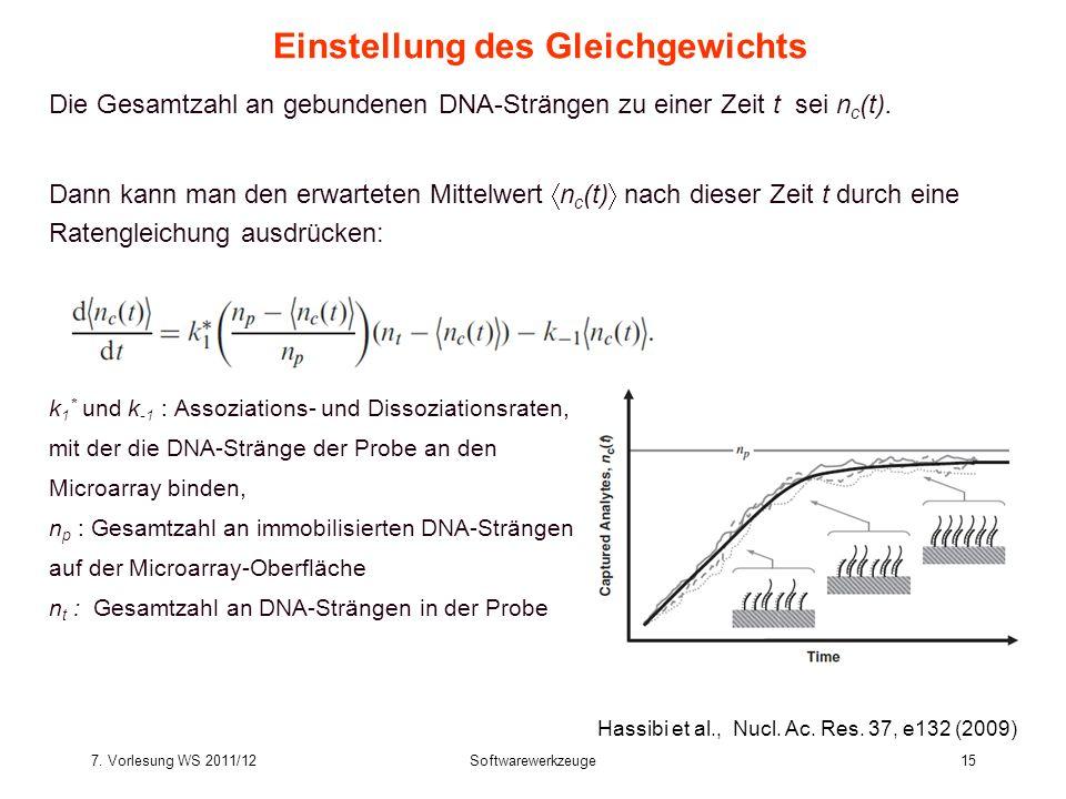 7. Vorlesung WS 2011/12Softwarewerkzeuge15 Einstellung des Gleichgewichts Die Gesamtzahl an gebundenen DNA-Strängen zu einer Zeit t sei n c (t). Dann