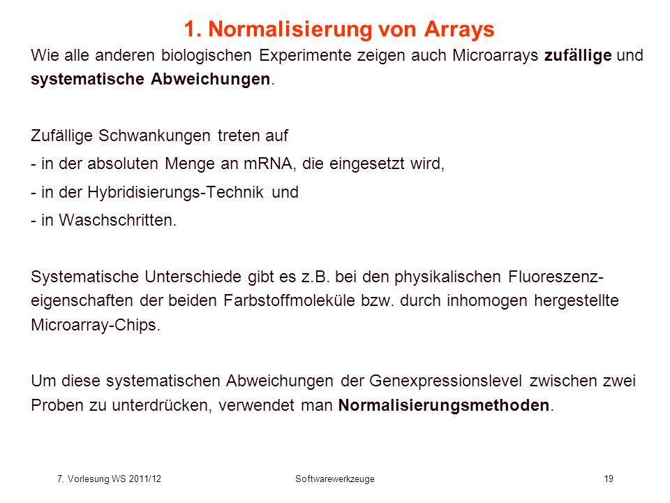 7. Vorlesung WS 2011/12Softwarewerkzeuge19 1. Normalisierung von Arrays Wie alle anderen biologischen Experimente zeigen auch Microarrays zufällige un