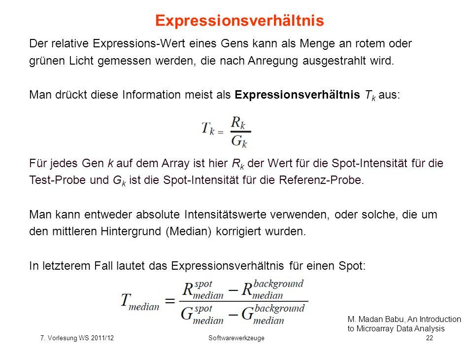 7. Vorlesung WS 2011/12Softwarewerkzeuge22 Expressionsverhältnis Der relative Expressions-Wert eines Gens kann als Menge an rotem oder grünen Licht ge