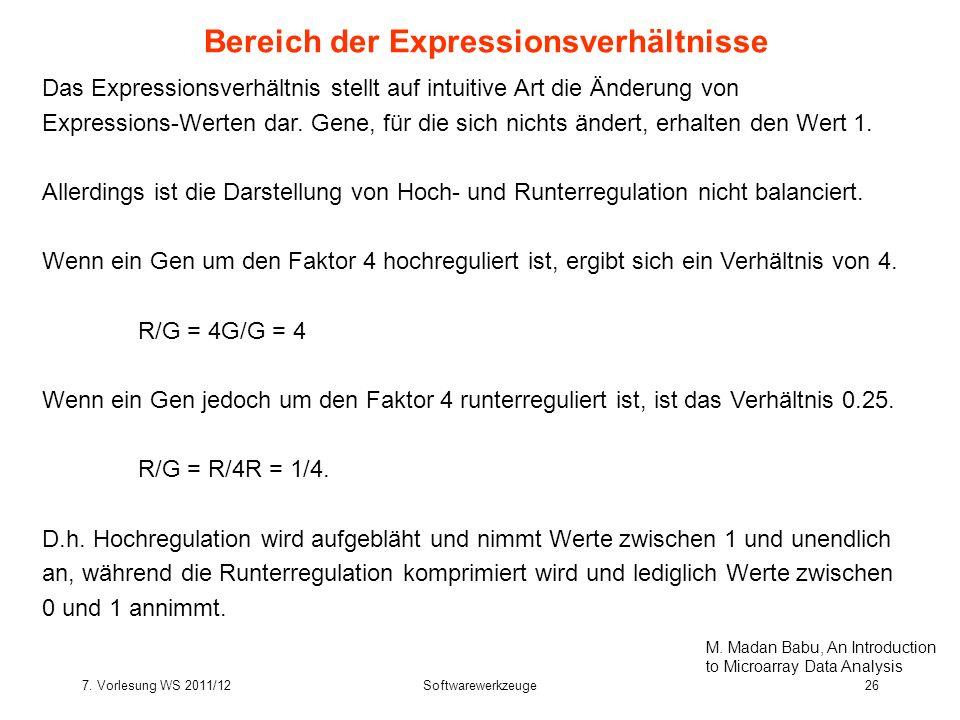7. Vorlesung WS 2011/12Softwarewerkzeuge26 Bereich der Expressionsverhältnisse Das Expressionsverhältnis stellt auf intuitive Art die Änderung von Exp