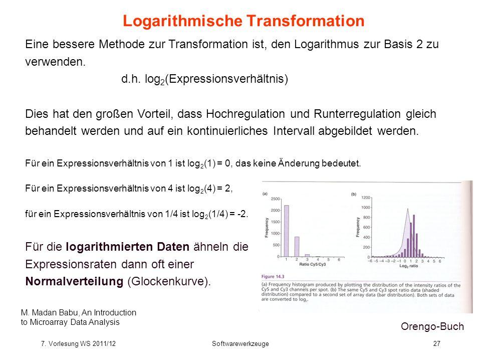 7. Vorlesung WS 2011/12Softwarewerkzeuge27 Logarithmische Transformation Eine bessere Methode zur Transformation ist, den Logarithmus zur Basis 2 zu v