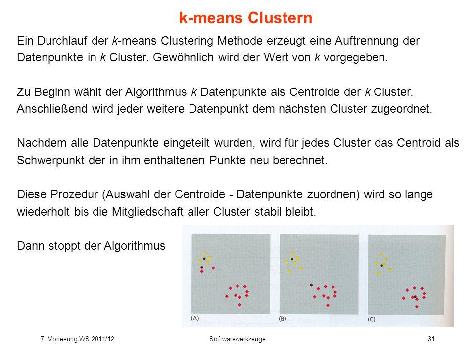 7. Vorlesung WS 2011/12Softwarewerkzeuge31 k-means Clustern Ein Durchlauf der k-means Clustering Methode erzeugt eine Auftrennung der Datenpunkte in k